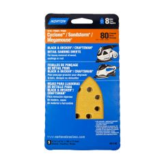 Hole & Loop 8 Vac Hole Iron Detail Sheets 80 Grit-5/Pack