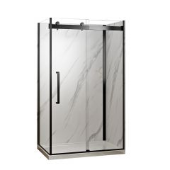 """48"""" Black Shower with Marble Wall"""