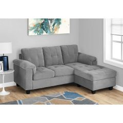 Grey Microfibre Sectional with Lounge Chair - 3 piece