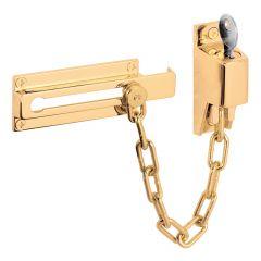 Chain Door Guard, Keyed, Brite Brass Finish