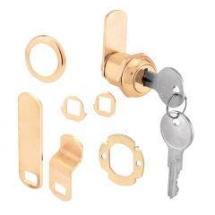 "Cam Lock, 3 Cam, 5/8"", Brass Plated Diecast"