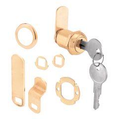 "Cam Lock, 3 Cam, 7/8"", Brass Plated Diecast"