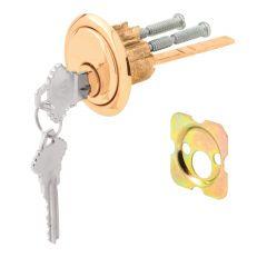 Rim Cylinder Lock, Schlage, Brass Face/Diecast Housing