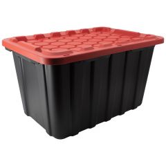 102 L Heavy Duty Black Tote with Red Lid