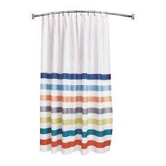 "72"" x 72"" Multi Striped Fabric Shower Curtain"