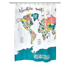 "72"" x 72"" Multi-Colored Adventure Map PEVA Shower Curtain"