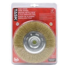 """6"""" Fine Brass Coated Steel Crimp Wire Wheel with 1/2"""" & 5/8"""""""