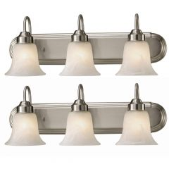 Brushed Nickel Stewart Twin Pack Vanity 3 Light