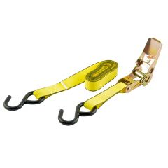 """1""""x 10' 900 lb Yellow Web Tie Down With S Hooks-4/Pack"""