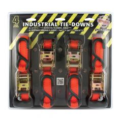 """1"""" x 15' Wide Rubber Handle Tie Down With S Hooks-4/Pack"""