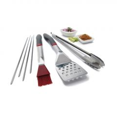 7Piece Stainless Bbq Tool Set With Ergo Grips