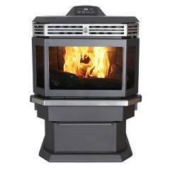 Bay Front Pellet Stove With Ash Pan And Remote Control