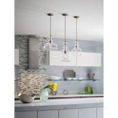 Staunton: 1 light Pendant, Dome Shape Glass Shade