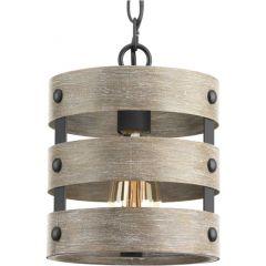 Gulliver: 1 light Mini Pendant, Driftwood Look, Weathered Zi