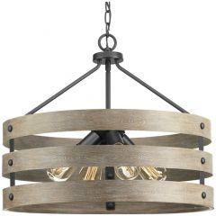 Gulliver: 4 light Pendant, Driftwood Look, Weathered Zinc