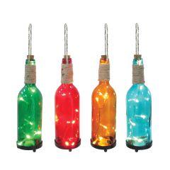 Glass Patio Lit Bottles