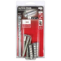 Lag Screw Shields 5/16-in L + Lag Bolt - 4/Pack