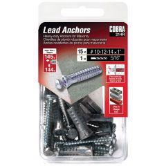 Lead Anchors #10-12-14 x 1-in + Screws - 15/Pack