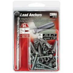 Lead Anchors #6-8 x 1-in + Screws - 20/Pack
