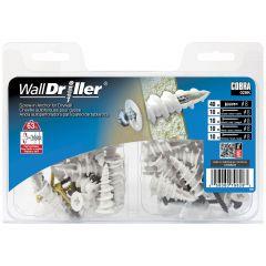 WallDriller Nylon #8L+ Brass, BK, WHT, Brown screws- 40/Pack