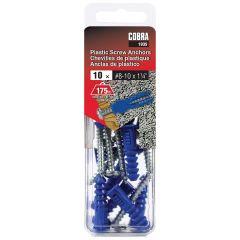 Plastic Anchors #8-10 x 1-1/4-in + Screws - 10/Pack