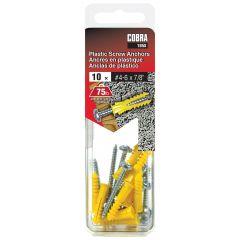 Plastic Anchors #4-6 x 7/8-in + Screws - 10/Pack