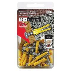 Plastic Anchors #4-6 x 7/8-in + Screws - 40/Pack