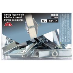 Spring Toggle Bolts 1/4-in x 3-in - 12/Pack