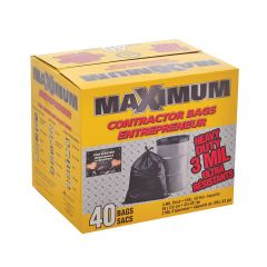 """33"""" x 48"""" Black Contractor Garbage Bags- 40/Box"""