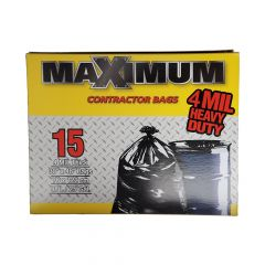 """33"""" x 48"""" Black Contractor Garbage Bags 4 Mil"""