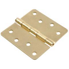 "4"" Satin Brass Full Mortise Round Corner Door Hinge"