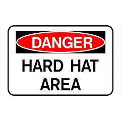 """Danger Hard Hat Area Sign 8"""" x 12"""""""