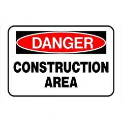 "Danger Construction Area Sign 8"" x 12"""