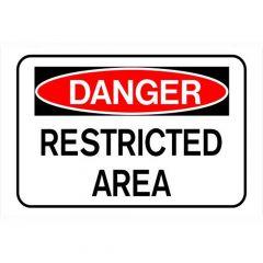 "Danger Restricted Area Sign 8"" x 12"""