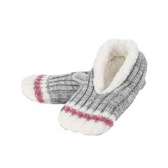 Knit Grey Pink And White Slippers