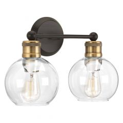 2 Light Hansford Vanity Fixture Matte Black With Gold