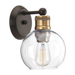 1 Light Hansford Sconce Matte Black With Gold