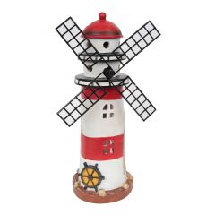 Solar Small Red And White Lighthouse With Windmill 13""