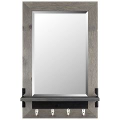 "21"" x 30"" Grey Mirror With Hooks"