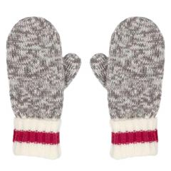 Grey Red And White Knit Mitts