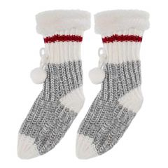 Grey Red And White Child's Knit Socks