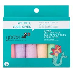 Yoobi Glitter Chalk - Mermaid-6/Pack
