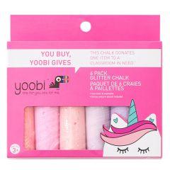 Yoobi Glitter Chalk - Unicorn-6/Pack