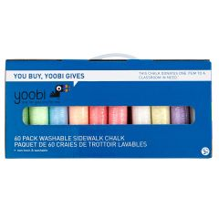 Yoobi Washable Sidewalk Chalk Multicolour-60/Pack