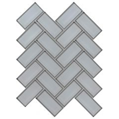 Ice Bevel Herringbone Glass Mosaic Tile