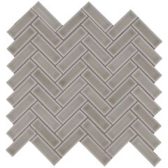 Dove Gray Herringbone Glossy Ceramic Mosaic Tile