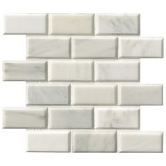 "Greecian White Polished Beveled Marble Mosaic Tile 2"" x 4"""