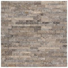 Silver Travertine Mini Ledger Natural Travertine Wall Tile