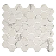 Statuario Celano Hexagon Glass Mosaic Tile