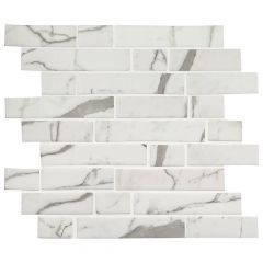 Statuario Celano Interlocking Glass Mosaic Tile